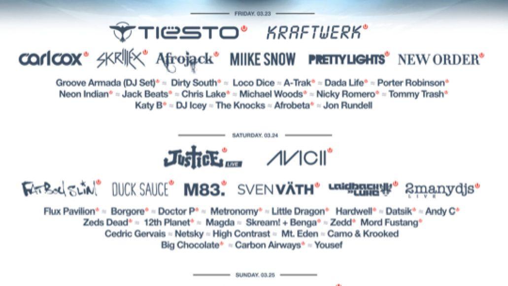 ultra 2012 phase 1 Kraftwerk, New Order, Justice head Ultra Music Festival 2012