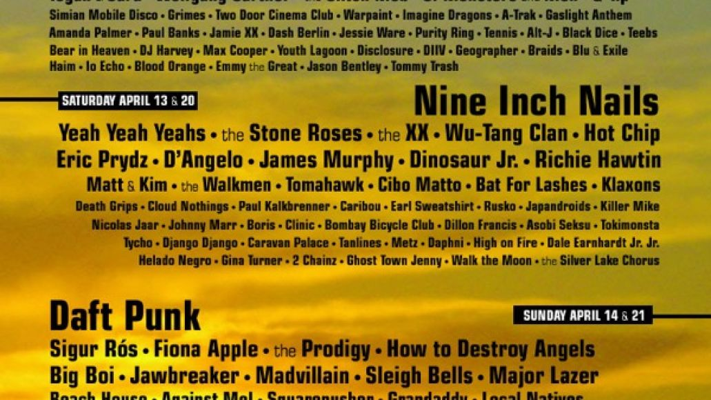 Heres a really great fake lineup poster for Coachella 2013
