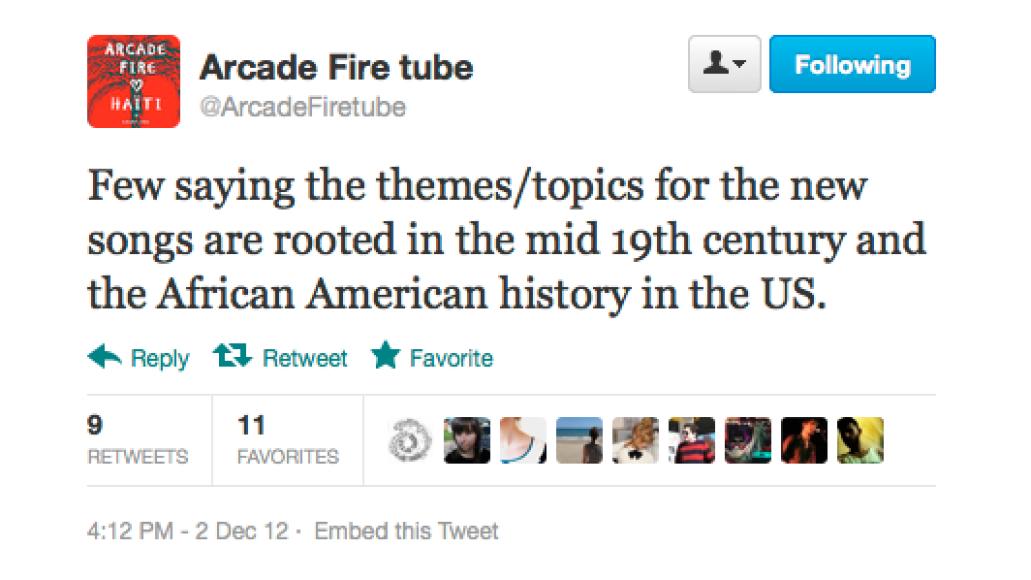 screen shot 2012 12 03 at 9 22 02 am Arcade Fire preview new music at secret show
