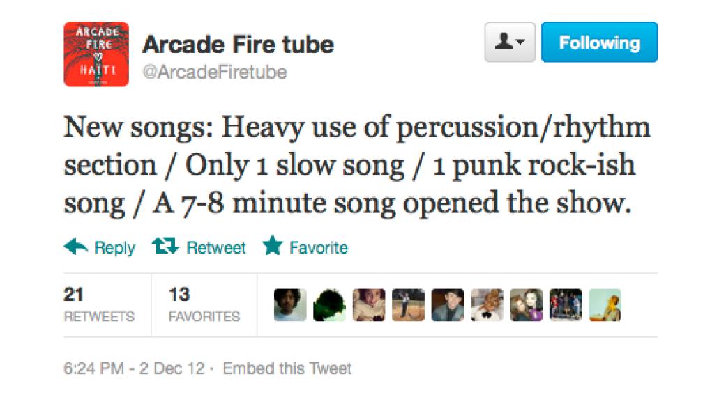 screen shot 2012 12 03 at 9 22 51 am Arcade Fire preview new music at secret show