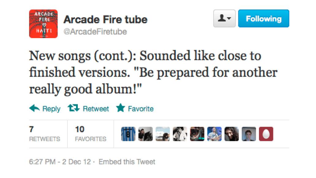 screen shot 2012 12 03 at 9 23 47 am Arcade Fire preview new music at secret show