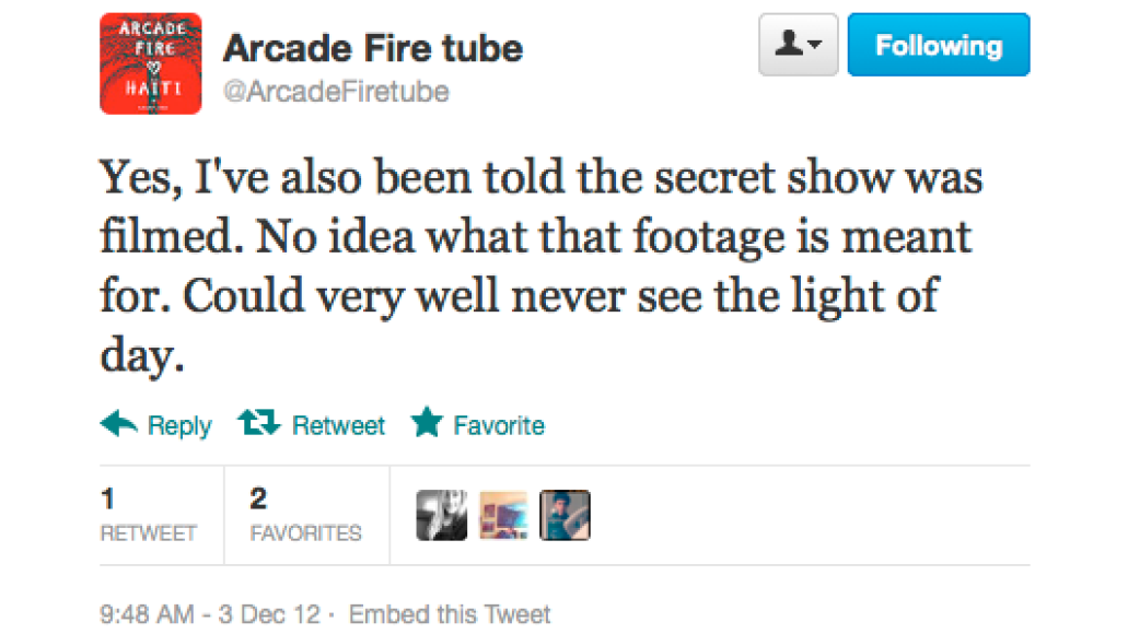 screen shot 2012 12 03 at 9 24 41 am Arcade Fire preview new music at secret show