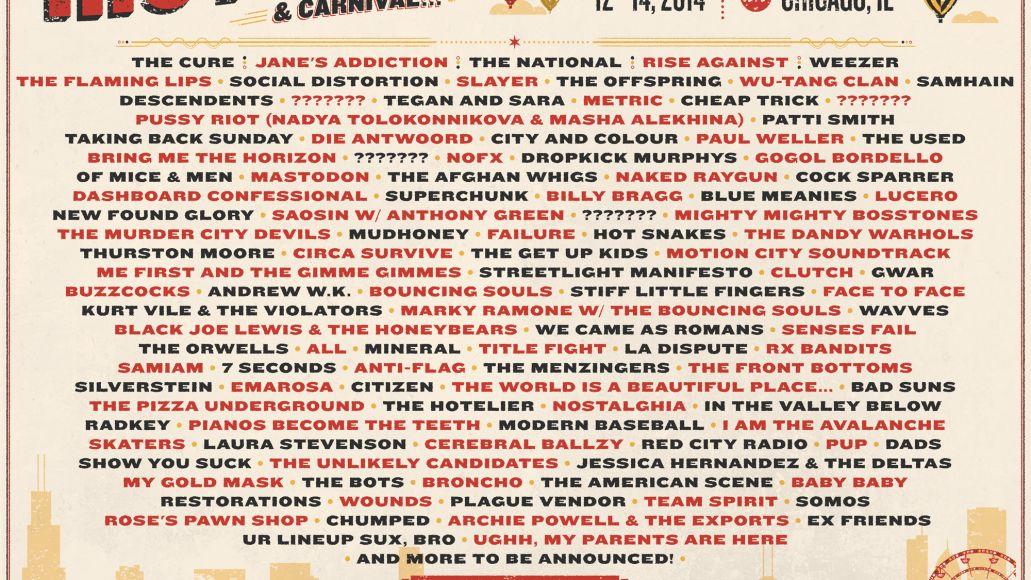 Riot Fest Chicago 2014 lineup