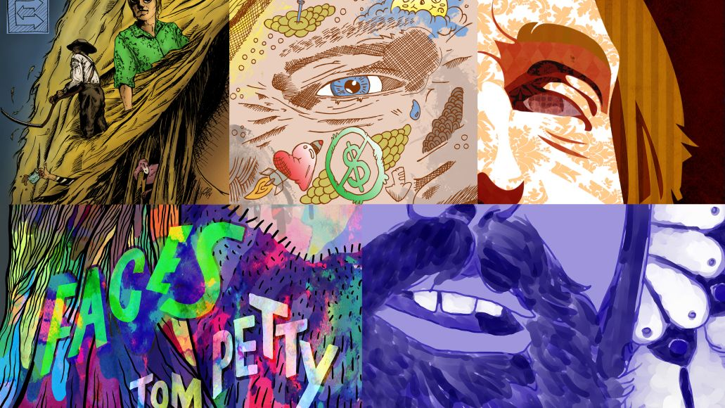 Tom Petty Faces - color