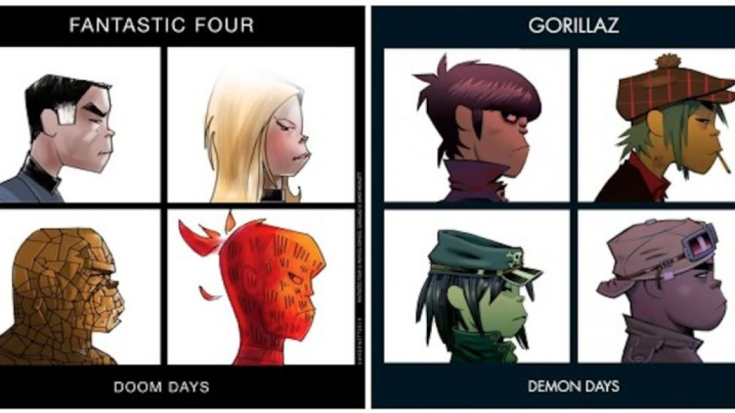 gorillaz f4 Artist reimagines classic album covers with comic book heroes and villains