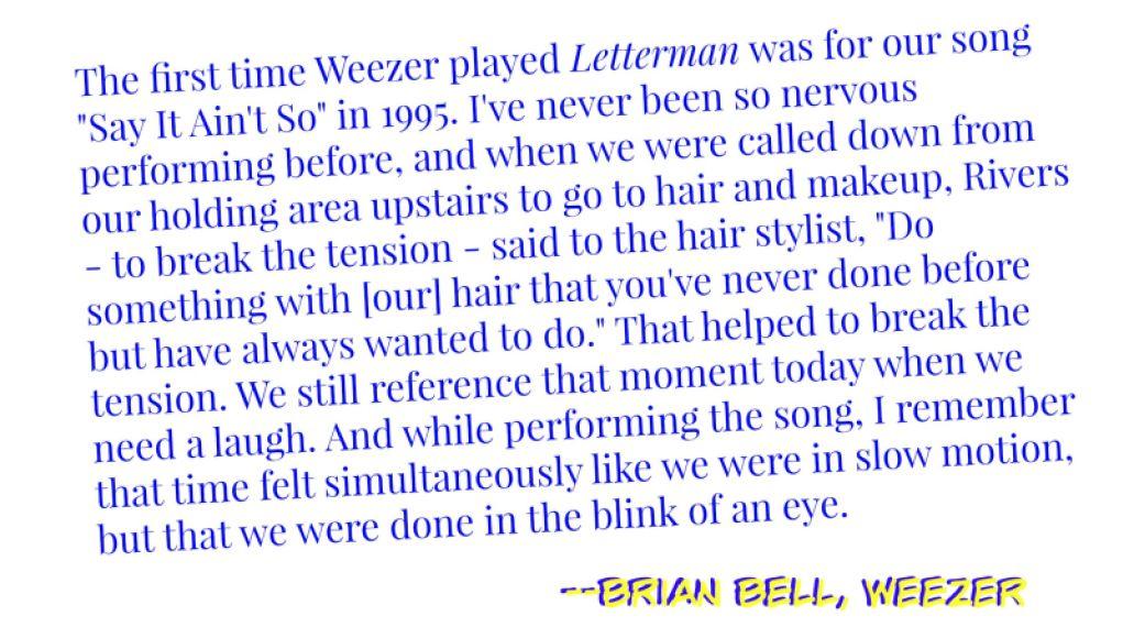 brian bell weezer e1432095155482 Goodnight, David Letterman: A Celebration