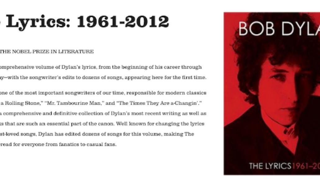 dylan Bob Dylans website removes acknowledgement of Nobel Prize for Literature