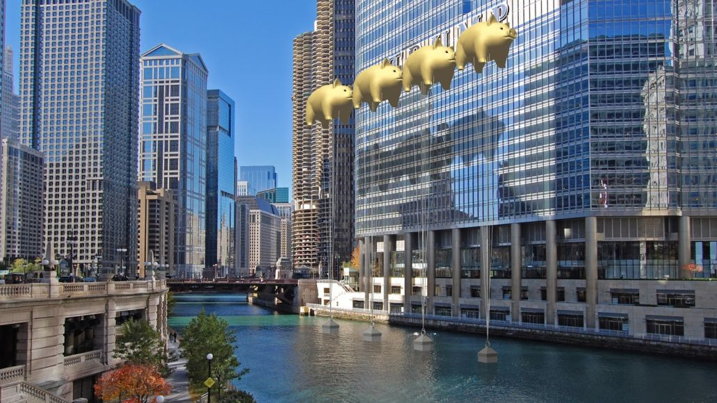 east view final Chicago architects want to hide Trump Tower logo with pigs inspired by Pink Floyds Animals