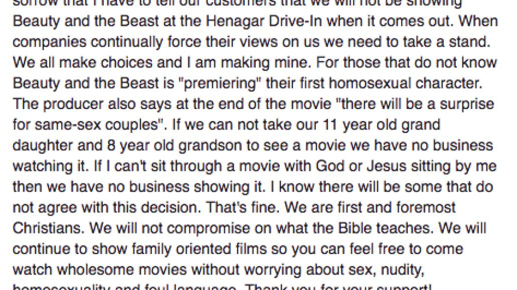 alabama drive in beauty beast fb Alabama theater wont show Beauty And The Beast because of gay character