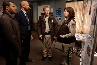 FARGO -- Year 1 -- Pictured (l-r): Jordan Peele as Special Agent Webb Pepper, Keegan-Michael Key as Special Agent Bill Budge, Bob Odenkirk as Chief Bill Oswalt, and Allison Tolman as Deputy Molly Solverson