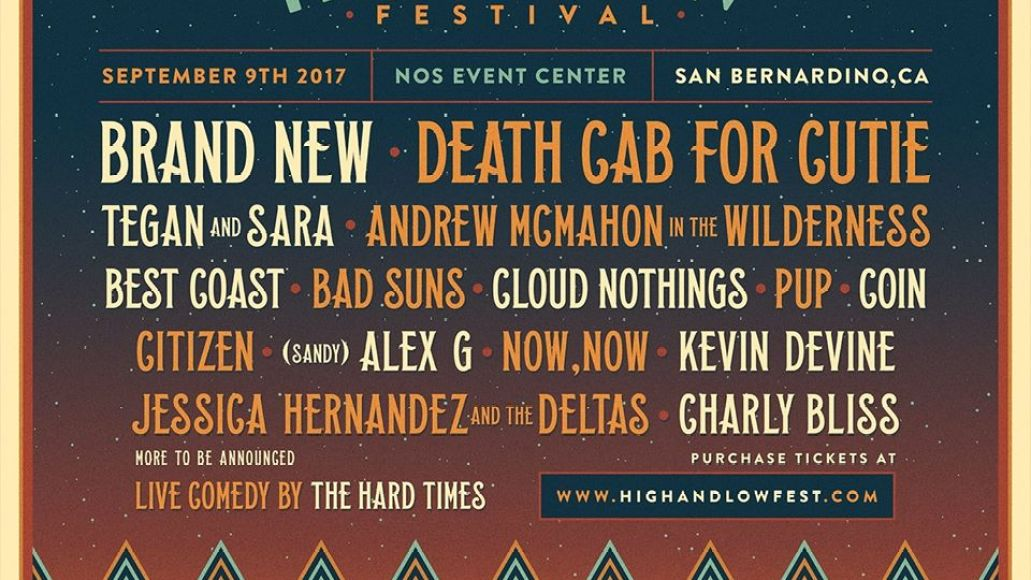 high low High & Low Festival announces inaugural lineup: Brand New, Death Cab For Cutie, and Tegan & Sara