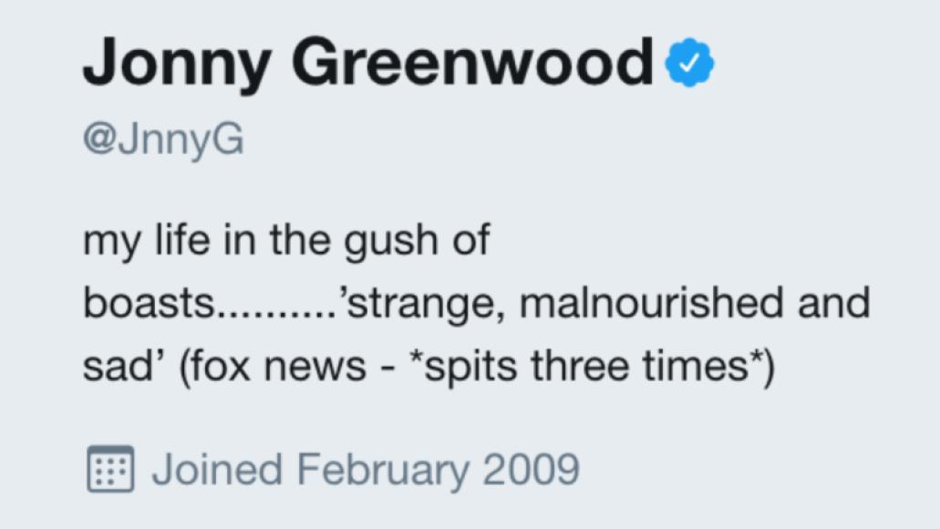 screen shot 2017 10 18 at 10 07 50 pm Jonny Greenwood adds Fox News Radiohead takedown to his Twitter bio