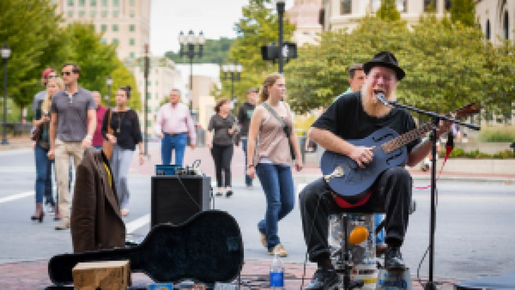 09 25 14 ashevillecvb0750 Asheville North Carolina  Blues Playing street busker Blue Fox. release signed