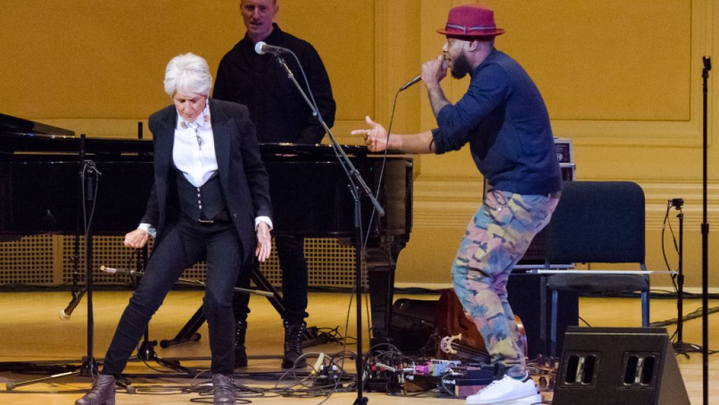 talib kweli and joan baez pathway to paris ben kaye 2 Michael Stipe, Patti Smith, and Others Promote Climate Change Awareness at NYCs Carnegie Hall (11/5)