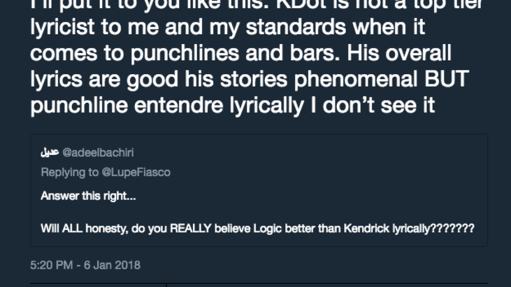 lupe kendrick Lupe Fiasco: Kendrick Lamar Is Not a Top Tier Lyricist