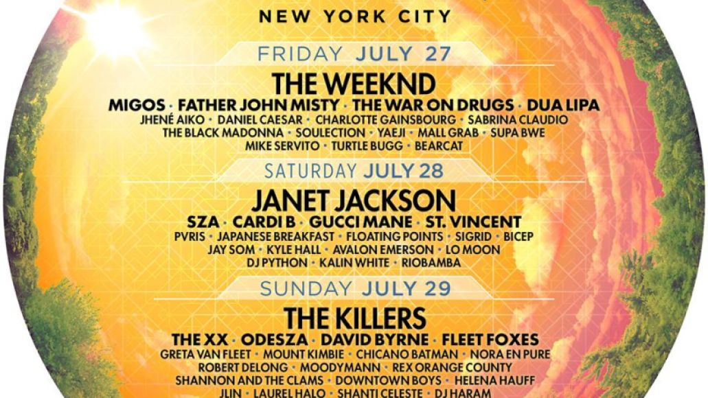 panorama 2018 Panorama Music Festival reveals 2018 lineup: Janet Jackson, The Killers, and The Weeknd to headline
