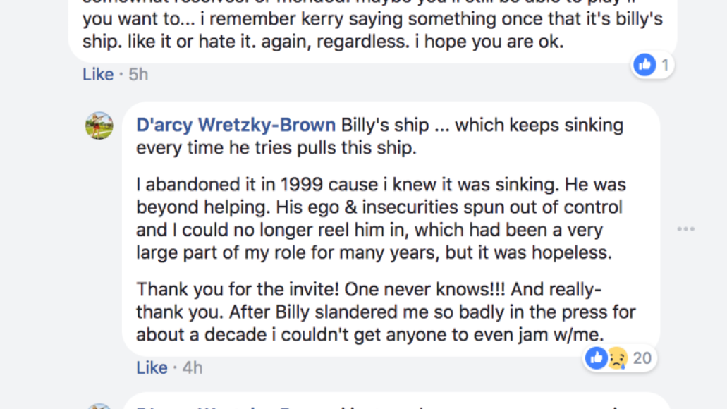 billy darcy 6 Darcy Wretzky accuses Billy Corgan of rescinding Smashing Pumpkins reunion offer, shares text message conversation