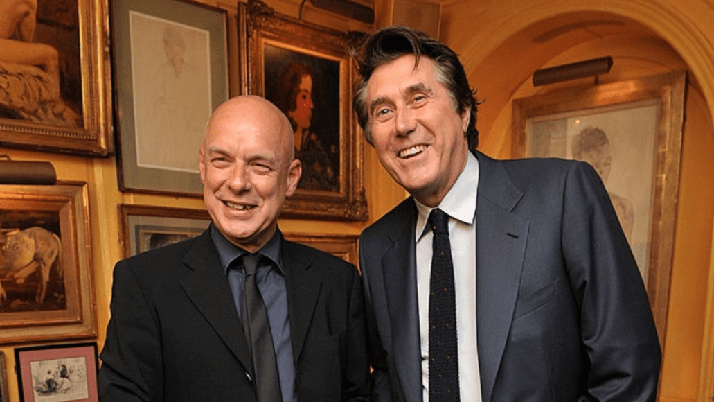 Brian Eno and Bryan Ferry, photo by Nick Harvey