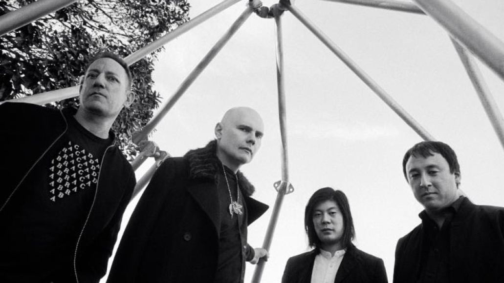 Billy Corgan, James Iha, Jimmy Chamberlin, and Jeff Schroeder of Smashing Pumpkins, photo by Olivia Bee