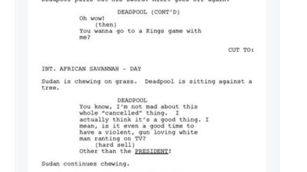 screen shot 2018 03 28 at 9 55 04 am Donald Glover shares script for finale to canceled Deadpool animated TV series