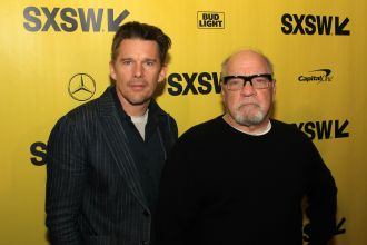 Ethan Hawke and Paul Schrader // First Reformed, photo by Heather Kaplan