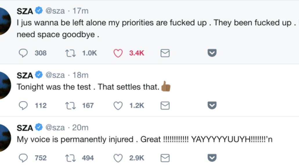 SZA tweets loses voice