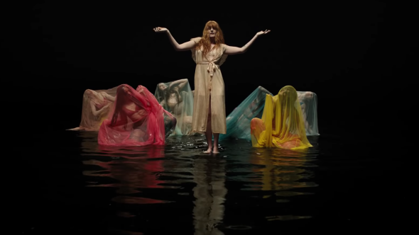 """Florence and The Machine's """"Big God"""" video water dance colored sheets"""