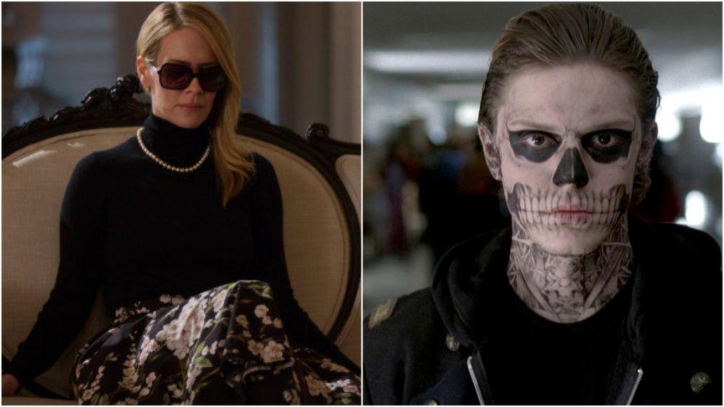 Sarah Paulson Evan Peters American Horror Story Season 8 FX couch skull sunglasses
