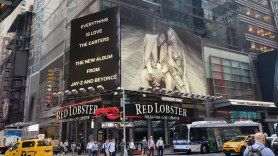 JAY-Z and Beyoncé's Everything is Love ad above Red Lobster in Times Square