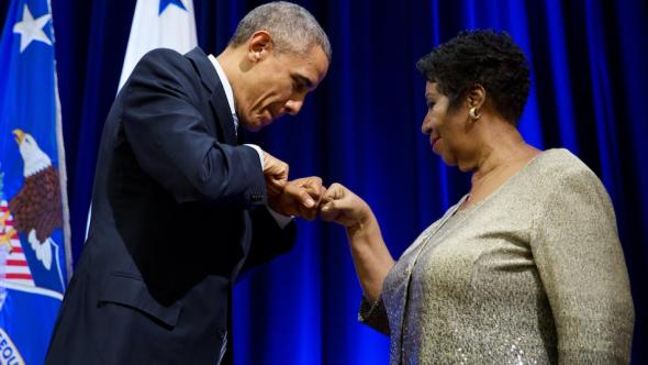 President Barack Obama Aretha Franklin Fist Bump Statement