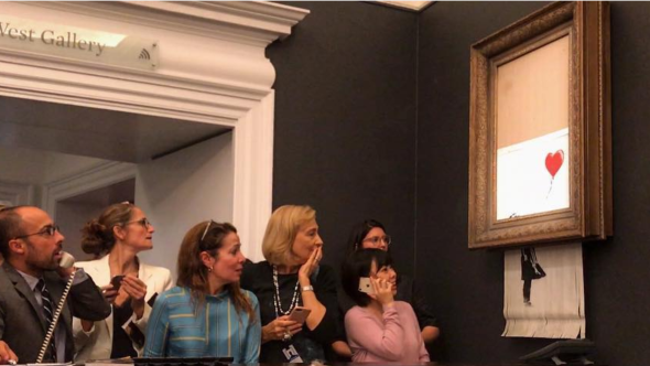 Banky's painting self-destructs