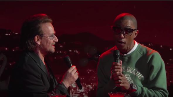 Pharrell and Bono Bee Gees Kimmel