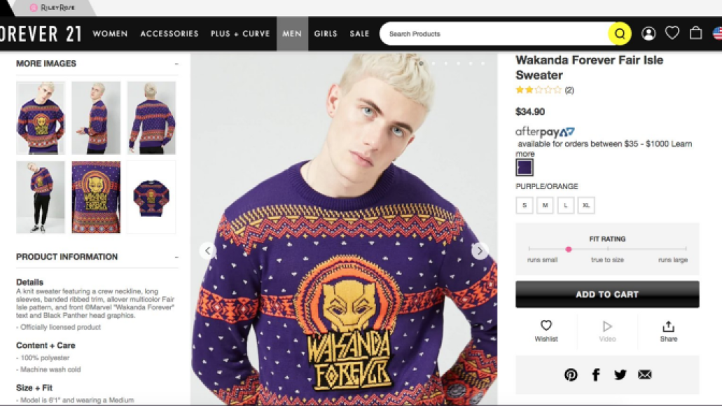 Screen Shot 2018 12 19 at 9.07.55 AM Forever 21 apologizes for using white model to sell Black Panther Christmas sweater