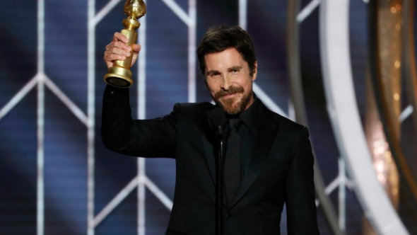 Christian Bale accepting Golden Globe for Best Actor