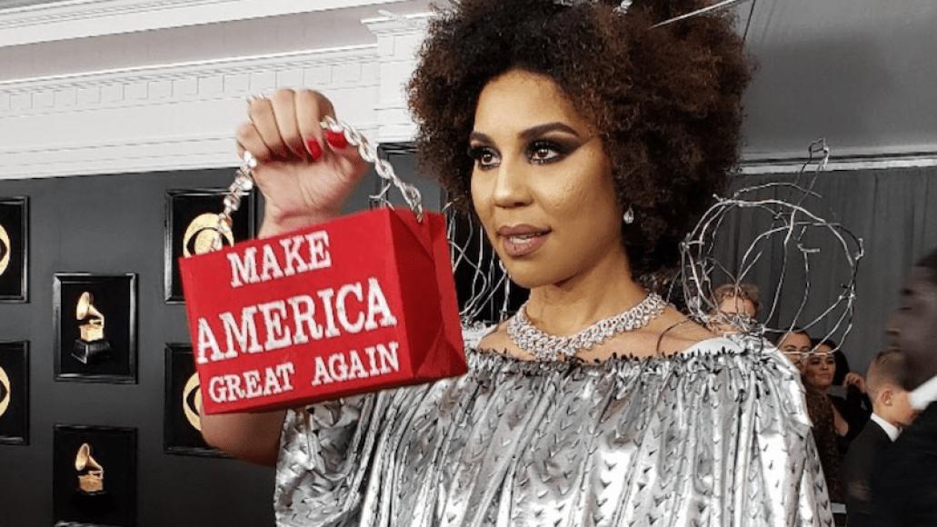 Joy Villa President Trump Wall dress grammy awards 2019