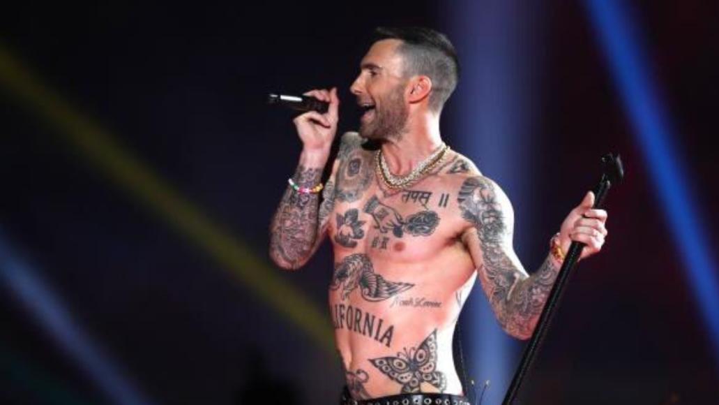 Maroon 5 performing at the Super Bowl LIII Hafltime Big Boi Adam Levine shirtless travis scott
