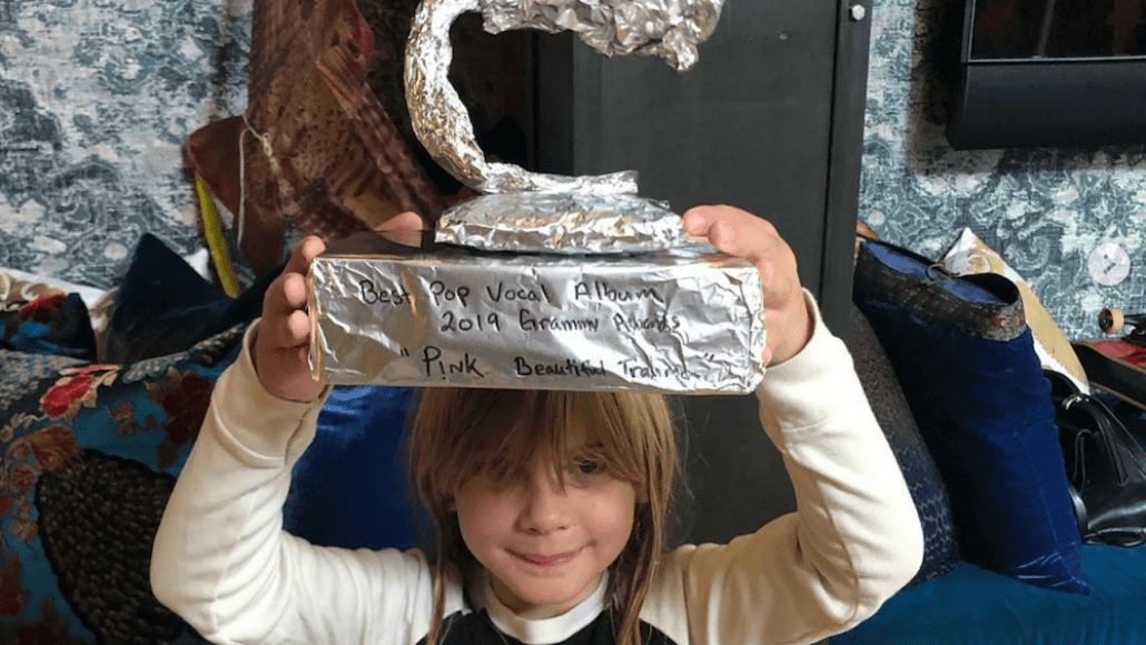 Pink daughter Willow Grammy tin foil homemade DIY