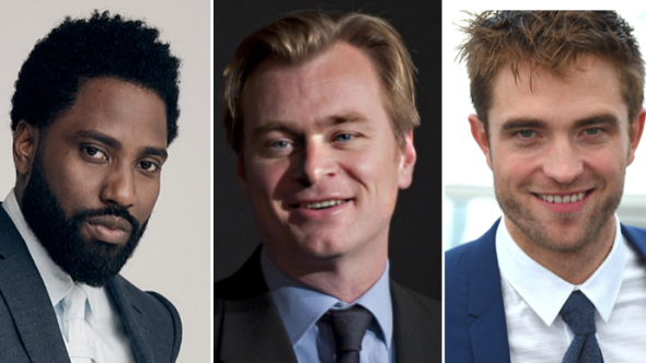 John David Washington, Christopher Nolan, and Robert Pattinson