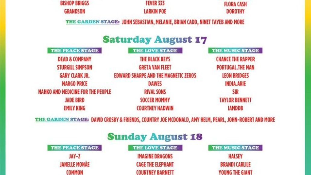Woodstock 2019 daily lineup