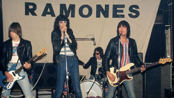 Ramones at Performance Studios, 1975, photo by Bob Gruen