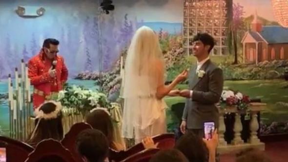 Joe Jonas Sophie Turner wedding photos video surprise Las Vegas Elvis Billboard Awards