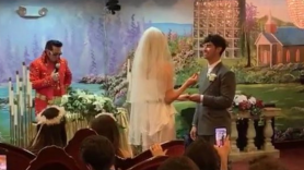 Joe Jonas Sophie Turner wedding photos video surprise Las Vegas Elvis Billboard Awards