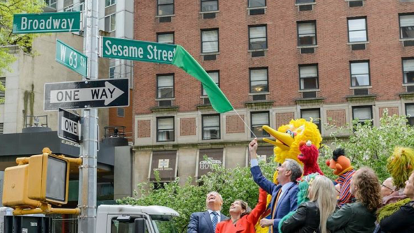 NYC intersection name Sesame Street 63rd street broadway