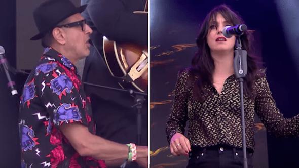 Jeff Goldblum and Sharon Van Etten at Glastonbury 2019 Jurassic Park Theme Let's Face the Music and Dance watch