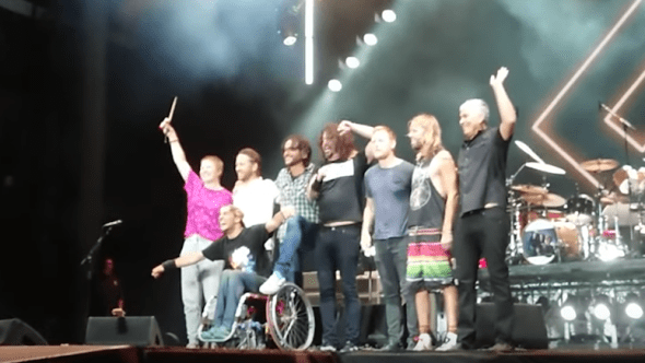 Foo Fighters Dave Grohl Wheelchair Crowd-Surf Bubbles Sziget Everlong