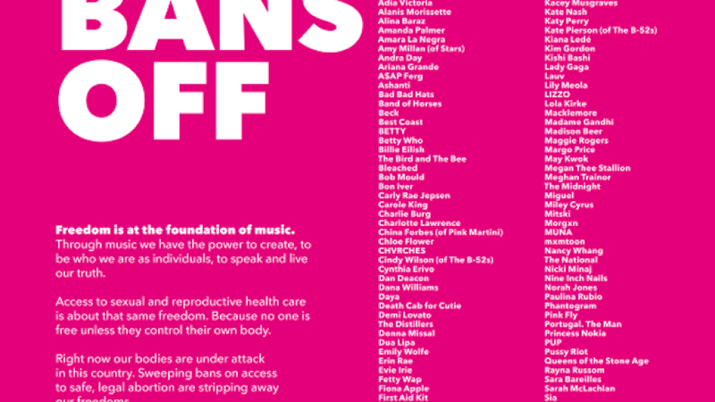 bans off my body artist list signed planned parenthood Lizzo, Billie Eilish, Foo Fighters and more sign Planned Parenthood letter protesting abortion bans