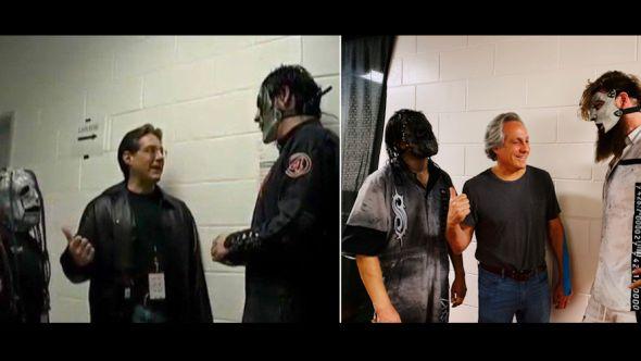 Jay Weinberg, Max Weinberg, and Jim Root re-create Slipknot photo