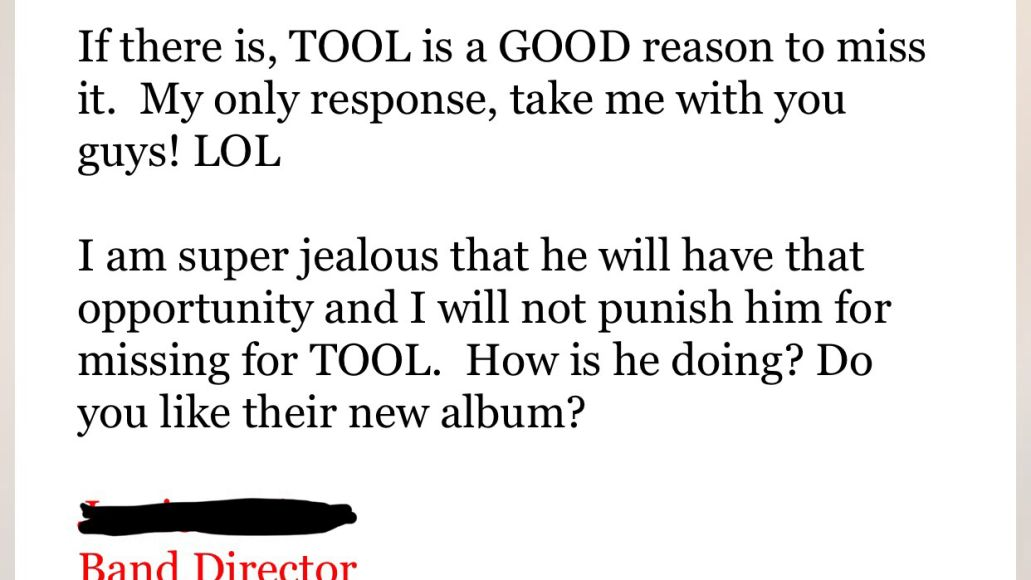 Tool concert 12 year old student receives permission to miss class for Tool concert