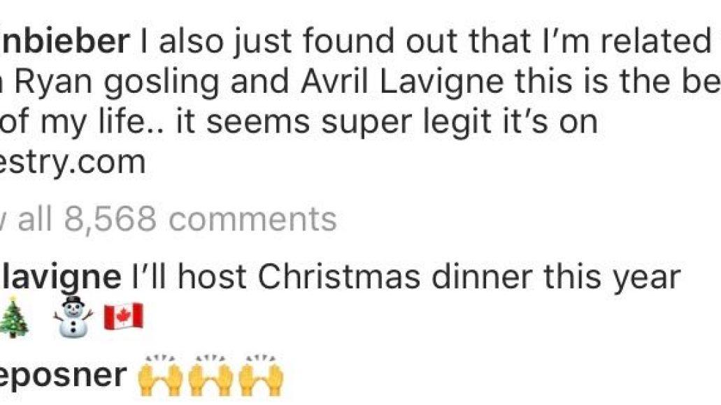 justin bieber related avril lavigne ryan gosling Justin Bieber discovers hes related to Ryan Gosling and Avril Lavigne