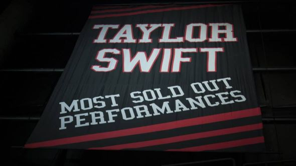 Taylor Swift's banner at the Staples Center